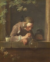 A young white man and child are framed within the rectangular opening of a stone window in this vertical painting. At the center, the young man leans towards us over his forearms, which rest on the wide ledge. Angled to our right, he holds a long straw to his mouth to blow a large, glistening bubble that hangs on the opposite end. A second straw rests in a glass cup filled with white liquid, presumably soapy water, that sits near his right elbow, on our left, and he looks down at the bubble. His chestnut hair is tied back with a black ribbon, and curls hang down from his temple. He wears a brown jacket over a white shirt. A younger child peeks over the ledge to our right and also looks towards the bubble. Seen from the nose up, the child wears a hat that curves up and over the crown of the head. The face of the brown stone building into which the window is cut seems close to us. A vine of ivy climbs up the face of the building to our left.