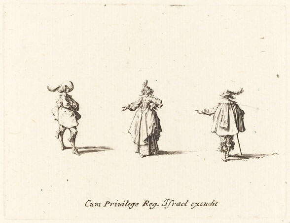 Lady with Outstretched Arm, and Two Gentlemen