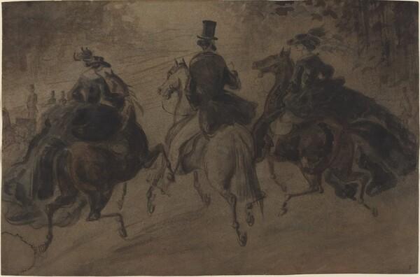 Cavalier and Two Ladies on Horseback