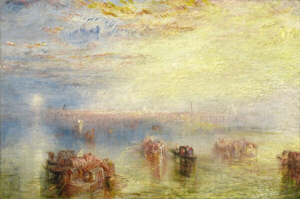 Butter yellow clouds and water, a periwinkle sky, and pale plum-colored buildings blend in hazy, indistinct bands across this horizontal landscape painting. The blurry horizon comes about a third of the way up the composition and the small, round, white sun shines low in the sky to our left. The sky or clouds around the sun are painted with shades of pale sapphire-blue with touches of lavender, which give way to a lemon-yellow clouds or haze in the right two-thirds of the sky. Buildings along the horizon, deep in the distance across the right three-quarters of the canvas, are loosely painted with vertical swipes of heather-pink and cream-white. The water, closest to us, reflects the yellow of the sky with additional touches of celery green. Brown boats spaced along the harbor carry people and objects away from us, towards the town. The paint is thickly applied in some areas, especially along the top of the sky, and the scene is loosely painted with visible brushstrokes throughout.