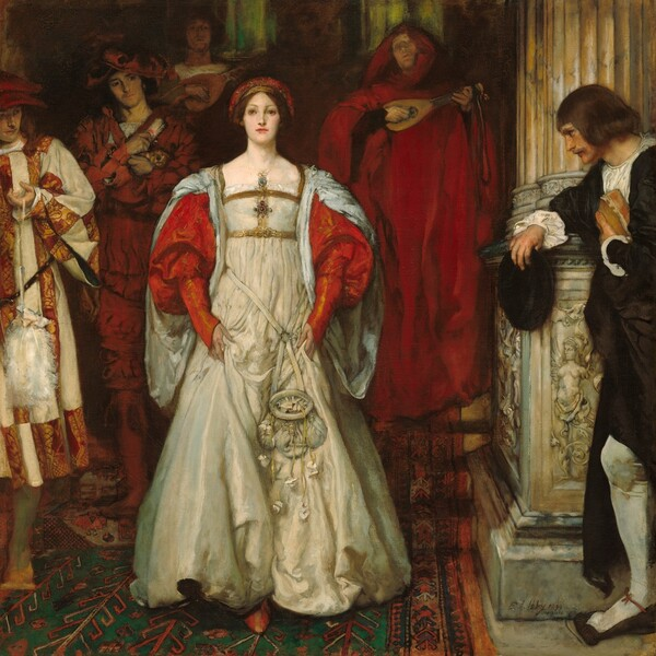 A young woman with creamy white skin and chestnut hair strides towards us down carpeted stairs, in front of an entourage of several musicians and attendants in this square painting. The men and woman all have pale skin. The woman is richly dressed in long white gown with a gold and jewel trimmed bodice, vibrant ruby red puffed sleeves, and a red and gold headpiece. Her hair has been pulled back, and she has large brown eyes, an aquiline nose, smooth skin, and her deep pink lips are closed. She seems to look slightly to our left and up. A white pouch with a pursed opening hangs from her waist. The pointed toe of one shoe peeks out under her skirt, which she lifts with her hands. Three men walk behind her in a line to our left, and another walks behind her to our right. The man closest to us on the left is cut off by the edge of the painting. He wears a calf-length tunic with vertical bands alternating between cream colored and a gold-on-red pattern. He wears a wide-brimmed hat and holds a white ostrich-feather fan dangling from a string as he looks towards the woman. The man behind him wears a floppy crimson hat and red costume with decorative slashes. He holds a tiny brown dog and a scroll to his chest, and he cuts his eyes towards the woman. Behind him, in the shadows, a bareheaded man plays a lute. A second lute player, to the right, wears a voluminous scarlet-red hood and robe and his lips seem parted as if singing. The rug beneath them is patterned with an angular design of red against forest green. A fluted, parchment-colored column encloses the scene to our right. The tall base of the column is elaborately carved with mythical creatures. The fifth man, wearing black over a white shirt and white stockings, leans his elbow on the column base so his body faces our left in profile. He holds his hat in his right hand and clutches a book to his chest with the other. He has chin-length brown hair and mustache. He tips his head towards and looks at the woman.
