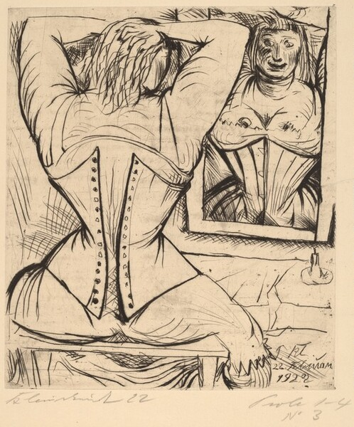 Corseted Woman at a Mirror