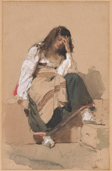 A Seated Peasant Girl in Contemplation