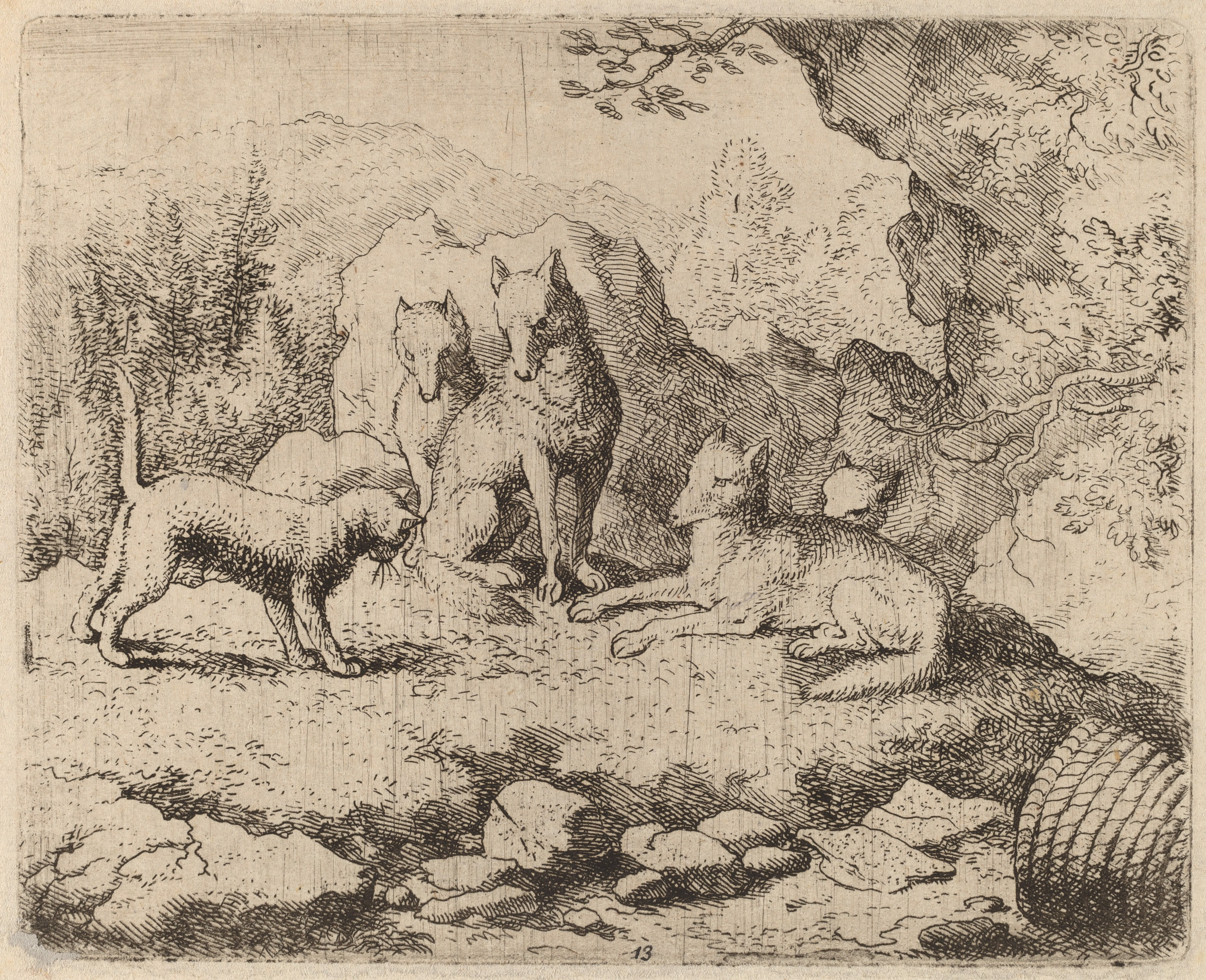 Etching of a cat sent as messenger to a pack of wolves.