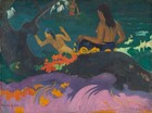 """Two nude women with brown skin and long black hair stand with their backs to us at a riverbank in this stylized horizontal painting. The body of the woman to our left is angled to our left with her hands raised, presumably about to plunge into the teal-colored water. The woman to our right unwraps a cloth patterned with bright yellow flowers on a deep purple background from her waist. Between the women and farther away, a bare-chested man, also with brown skin, wears a tomato-red garment across his hips as he stands hip-deep in the water holding a long spear. The top of his head is cropped by the top edge of the painting. Along the left edge of the canvas, a gnarly tree is painted as a flat field of dark, charcoal gray and it rises off the side and top of the composition. An area of the same color, perhaps a thick root or the trunk growing nearly horizontally, spans the width of the painting, separating the women from us. The area around the trunk to our left and right is painted with fields of evergreen and cool mint. Closer to us, along the front of the root, a field of rosy pink swirls with grape purple to suggest sand. This area is dotted with harvest-yellow and pumpkin-orange vines and stylized flowers. A bunch of traffic-cone orange flowers with pine and spring green leaves sits on the root near the trunk, to our left. Most of the painting, especially the landscape, is painted with areas of mostly flat color. In the bottom left corner, the artist has written the title of the painting in blood red paint: """"Fatata te Miki."""" In the lower right corner, he signed and dated the work with periwinkle blue paint: """"P. Gauguin 92."""""""