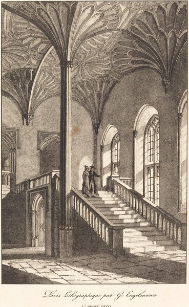 Man and Woman Descending Staircase