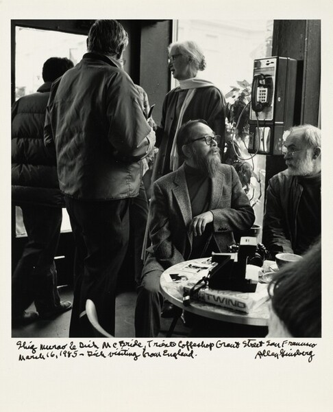 Shig Murao & Dick McBride, Trieste Coffeeshop Grant Street, San Francisco March 16, 1985—Dick visiting from England.