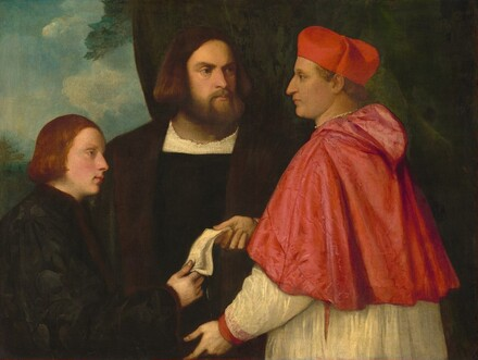 Girolamo and Cardinal Marco Corner Investing Marco, Abbot of Carrara, with His Benefice