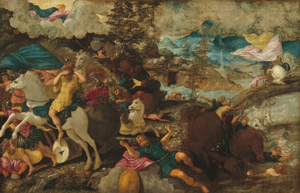 About two dozen, light-skinned men and several horses tumble across this scene, creating a visual jumble against a deep landscape in this horizontal painting. Closest to us, a bearded man, Saint Paul, wears a teal-blue tunic and coral-pink cape, and he lies sprawled across a short set of gray, stone steps, perhaps a fragment from a building. With his head to our left, his body is tipped toward us and his arms are raised, palms facing out, as he looks back and up. He wears a thick gold chain around his neck, and the gold hilt of a sword hangs from his gold belt. A round gold shield is propped on the steps and other pieces of armor, including a silver helmet and arm, are strewn in the grass nearby. To our left, a man wearing a mustard-yellow tunic and teal cape rides a rearing, ivory-colored horse. The horse faces our left in profile and bucks with mouth open and mane flying. The rider clutches his own head with both hands. Behind this horse and rider, men wearing emerald green, butter yellow, peach, or teal blue and metal helmets and sleeves tumble and struggle around several more brown or white horses. To the right of Saint Paul, a chestnut brown horse crouches near the edge of a river, and several men and more horses flail in the water. A pebbled path running behind Saint Paul leads to a low, arched bridge spanning the river and extending off the right edge of the composition. Carrying billowing pale peach, pink, and yellow triangular flags, men ride and push at a pair of rearing horses on the bridge. To our right, the river winds through a deep, mountainous landscape. To our left, yet more men and horses seem to tumble down a flight of stone stairs leading up to a bank of parchment-white clouds that span the sky in the top third of the painting. A bearded, blond man at the upper left corner, wearing rose-pink and royal blue, stretches out across the clouds to gesture with an open palm to the landscape below.