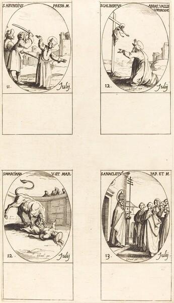 St. Abundius; St. Galbertus; St. Marciana; St. Anacletus