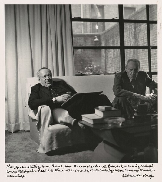 Alan Ansen visiting from Greece, William Burroughs leaned forward menacing-visaged, Henry Geldzahler