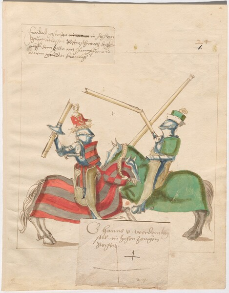 Freydal, The Book of Jousts and Tournaments of Emperor Maximilian I: Combats on Horseback (Jousts)(Volume I): Hans von Werdenbergin hohen Zeugen Plate 23