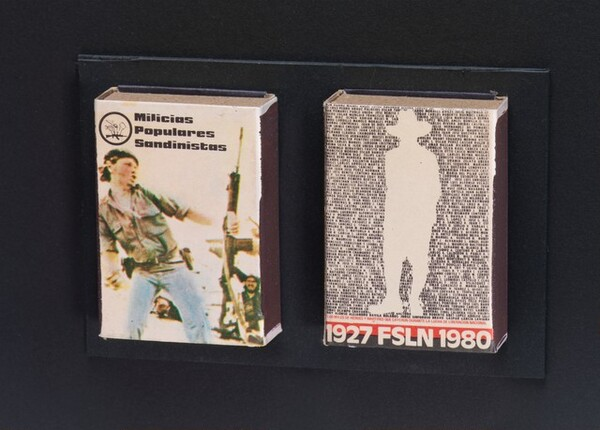 First anniversary matchboxes of the FSLN triumph over Somoza, Nicaragua, July 1980