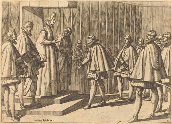 Italian Prince before Margaret of Austria