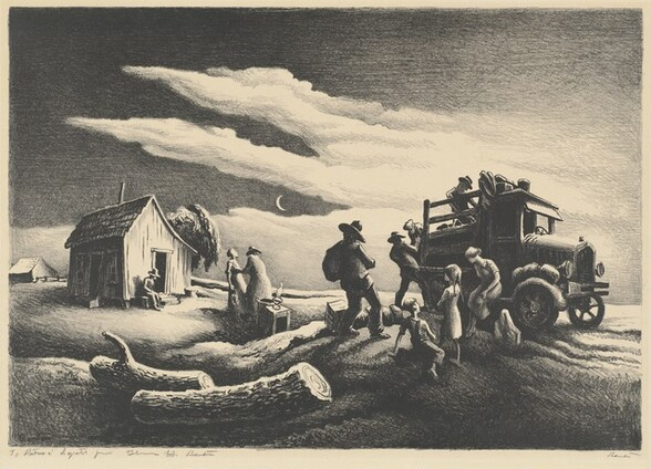 """Printed with black and gray on cream-colored paper, this horizontal landscape print shows nine people around or near a 1920s pickup truck to our right and a man sitting in front of a shed to our left under a moonlit sky. We seem to be low to the ground, looking slightly up at the scene. Four men wearing hats load the back of the truck with objects. A woman wearing a shin-length dress sits on the fender next to the door we can see looks away toward the men. A younger girl stands with arms crossed and young boy sits on the ground, both facing away from us, near the woman. Beyond the truck and to our left, an oil lamp sits on what might be a box or piece of furniture, next to a round basket. A person wearing a long garment, perhaps a long coat, and wide-brimmed hat faces away from us and seems to support a woman wearing a long dress, whose face turns up as she sways back. Another man sits next to an open door of the wooden shed to our left. A tree growing on the far side of the shed curves up over the sloping roof. A farmhouse sits on the horizon in the distance to our left. Two large, textured, sawn tree trunks lay on the ground close to us in the lower left corner. The land rises in low hills under the truck and shed. A crescent moon hangs in the dark sky above between two arms of clouds that sweep in from our right. On the paper under the printed image to the left, the artist inscribed the work: """"To Patricia Syrett from Thomas H. Benton."""" The artist also signed the work in the opposite, lower corner: """"Benton."""""""