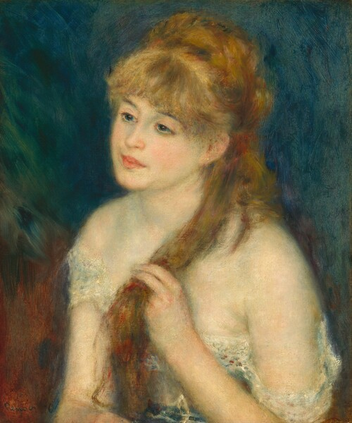 """A young woman with a smooth, creamy-pink complexion shaded with ice-blue and pale, mint-green, blue eyes, and auburn-gold hair is seen from the chest up wearing a low-cut, white garment in this vertical portrait painting. The painting is created with blended brushstrokes, giving the portrait a soft, blurred effect. The woman's body is angled to our left and she looks off in that direction, her head tipped a little toward us. She has a straight nose and full, rosy pink lips. Thick bangs sweep across her forehead, and her hair is pulled back. She holds one long lock with her left hand, on our right, in front of her shoulder. One small gold ball earring adorns the ear we can see. Her low, white garment falls off her shoulders and seems to be belted with a blue sash at her waist. The background behind her is made up of a field of royal and turquoise blue behind her head and shoulders, and rust brown behind her body. The artist signed and dated the work with dark paint in the lower left corner: """"Renoir.76."""""""