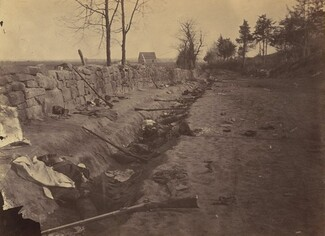 Andrew Joseph Russell, Stone Wall, Rear of Fredericksburg, with Rebel Dead, May 3, 1863