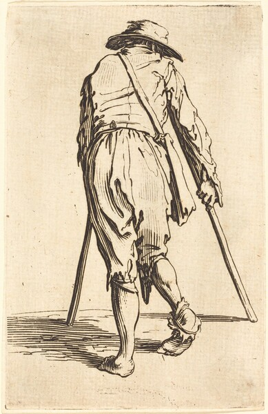 Beggar with Crutches and Hat, Back View