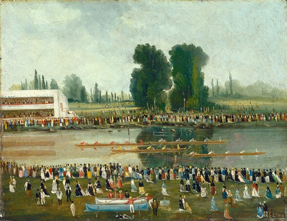 Rowing Scene: Crowds Watching from the River Banks