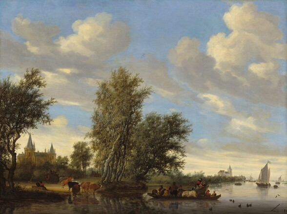 A river winds across the foreground and into the distance to our right below a blue sky with towering clouds in this horizontal landscape painting. The clouds seem to sweep upwards and towards us from the low horizon line, which is about a quarter of the way up the canvas. Rowboats, sailboats, and ducks dot the river to our right.  The long, shallow ferry boat near the bottom center of the painting transports a pair of horses and a carriage, which is occupied by at least four seated people. More men, women, and a nursing mother fill the ferry around the carriage and animals. A herd of six cows stand at the water's edge to the left, and two people sit nearby. Two more horse-drawn carriages filled with people head away from us. A church is visible in the middle distance through a break in the tall trees on the riverbank. Another church and buildings line the riverbank in the deep distance to our right.