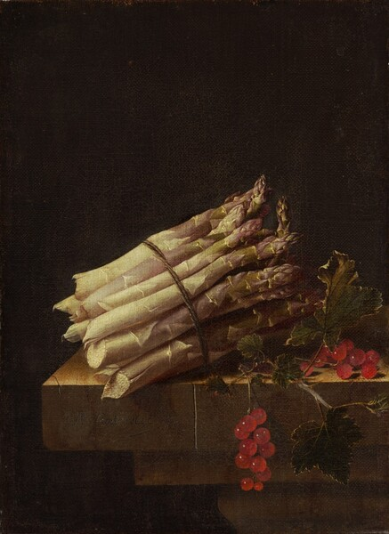 "A bundle of pale green, thick asparagus stalks bound by twine and a bunch of glistening ruby-red currants sit on the edge of a stone table or ledge against a deeply shadowed background in this vertical still life painting. The asparagus is situated with the jagged, broken edges facing our left and the pointed tips angled away from us to our right. The base of the stalks are nearly cream-white and the tips are faint green and muted purple. To our right, one the two stems of the currant berries and leaves dangles off the front edge of the table. Light spills onto the scene from our upper left giving the currants a glassy sheen. The stone ledge or table is cracked in a couple of places. The artist signed this work as if he had inscribed his name and the date on the front surface of the table: ""A. Coorte. 1696."""