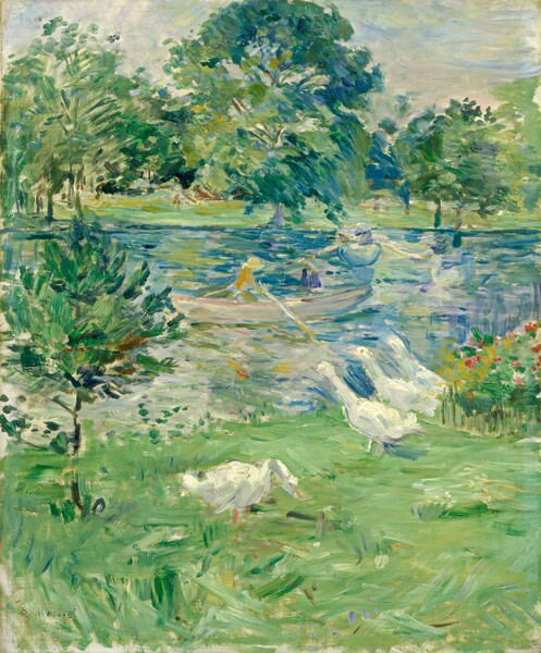 """At least one rowboat occupied by two people floats on a lake, which is surrounded by lush green vegetation in this vertical landscape painting. The scene is loosely painted with short and long parallel brushstrokes, so some details are difficult to make out. The white of the four geese lining the bank near us break up a color palette almost entirely dominated by spring, mint, and sage greens and royal and baby blues. Three of the geese stand in a line and the fourth bends down to peck at the grass. A bed of deep pink flowers is indicated with touches of vibrant color to our right of the geese. One person wearing a golden yellow garment and a butter yellow hat rows the boat near the center of the lake. Another person in that boat appears to wear cobalt blue. Other curved lines in the water could be additional boats or could be reflections in the lake's surface. Barely discernable, a person, possibly holding a stick, stands among the tall trees lining the opposite bank. The horizon line comes about three-quarters of the way up the composition, and the sky above is painted with watery blue, pale yellow, and ivory brush strokes. The artist signed the work with dark letters near the lower left corner: """"B. Morisot."""""""