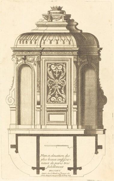 Plan et elevation des plus beaux confessionnaux de Paris, tres fidelemant mesure