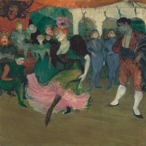 We seem to hover slightly above a stage, looking on as a woman dances at the center of this square painting. The pale white skin on her face is heightened noticeably with pink blush at the cheekbones. She wears crimson lipstick and dark brown eyebrows are peaked over blue eyes. Two flaring pink flowers, each about the size of the woman's face, are pinned in the woman's flame-red hair. The black bodice of her dress has puffed, elbow-length sleeves and a low-cut square neckline. The lime green skirt flares around her dancing feet to billow up and reveal layers of bubblegum pink underneath. Her body is angled to our left as she points her left black-stockinged foot and holds her arms by her sides. Behind her, thirteen people dressed in blue, green, and black costumes suggest a royal court, including a dark-haired man who wears a brick red bolero style suit. He stands near the woman to our right, watching her dance.