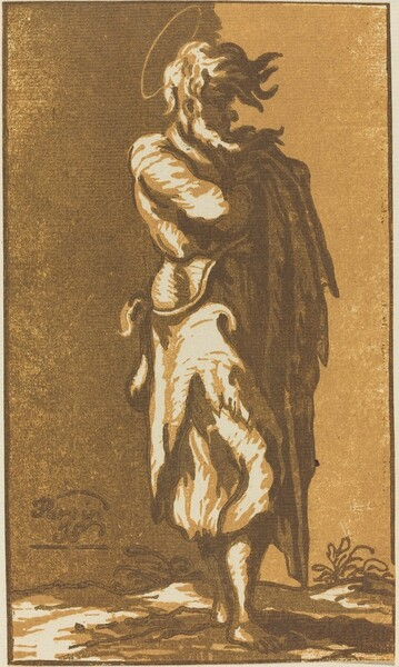 Male Saint Standing with Folded Arms, Facing to the Right