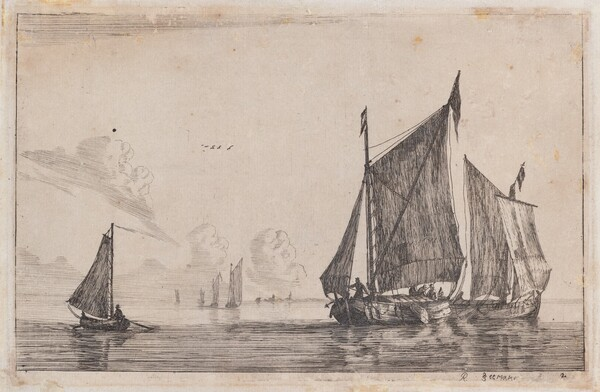 Three Sailing Vessels on Calm Waters