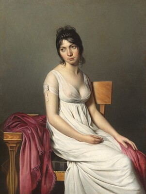 Anonymous Artist, Jacques-Louis David, Portrait of a Young Woman in White, c. 1798
