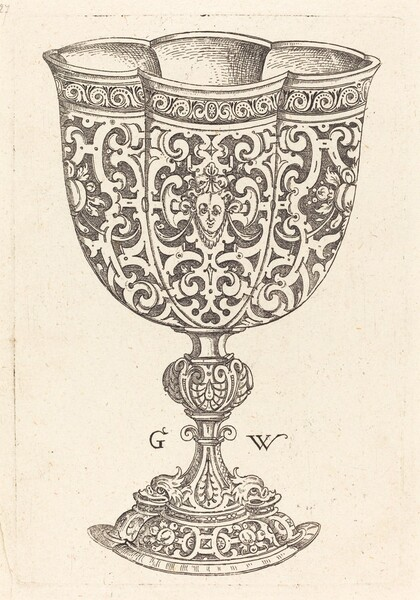 Chalice with six embossings, base decorated with two dolphins