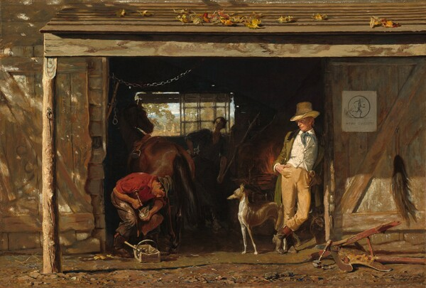 Two men, a woman, a dog, and a horse gather at the wide opening to a barn-like building that fills this horizontal painting, with a woman faintly visible amid the shadows inside. A light-skinned, blond man in a tall, brimmed, straw hat leans with his ankles crossed and hands in pockets against the right side of the opening. His body faces us and he turns his gaze toward the man to our left, whose face is in profile. The blond man