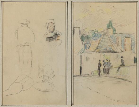 Two Breton Figures; Bridge at Pont-Aven [recto]