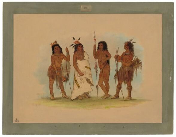 Apachee Chief and Three Warriors