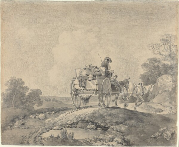 Drover with Calves in a Country Cart