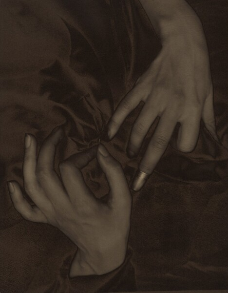The backs of two splayed hands, one coming down from the top and one up from the bottom, nearly fill this vertical photograph and are shown lightly entwined in a field of dark fabric. The image is monochromatic like a black and white photograph but is printed in tones of golden and dark browns. The thumb of the left hand, coming up from the bottom, points upwards so the fingers splay elegantly to our left. The forefinger and thumb touch to hold a needle stitching the dark. The right hand comes down to our right and almost touches the left hand. The index finger is bent under at the first knuckle, and the ring and pinkie fingers gently curve downwards into the fabric. The middle finger extends straight and is capped with a shiny thimble, which nearly touches the thumb of the opposite hand. The skin on the hands and wrists is smooth and the photograph is lightly blurred, creating the impression of a patina. The folds of the gathered fabric create a shadowy pinwheel effect.