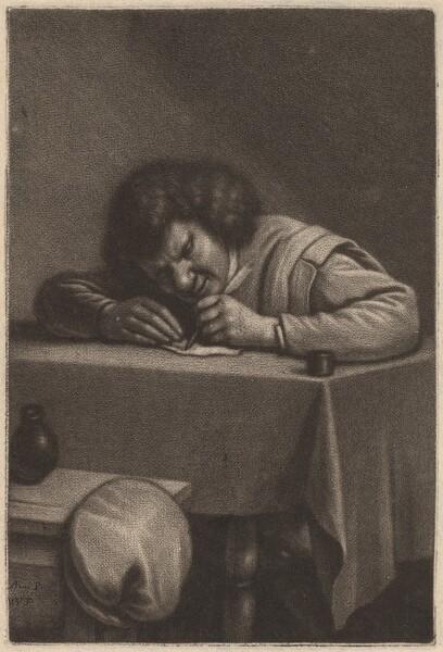 A Man Writing at a Table