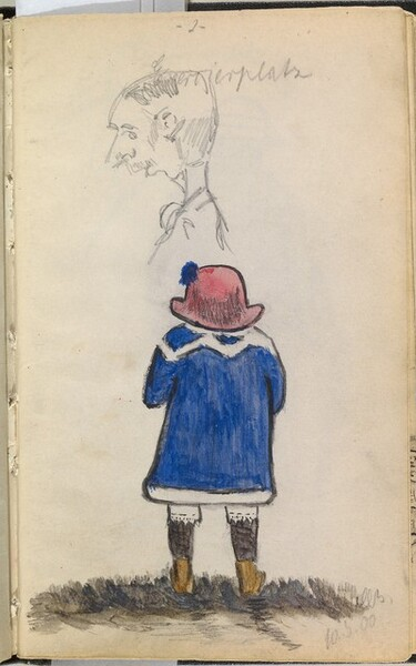 Young Girl Dressed in Blue seen from Behind