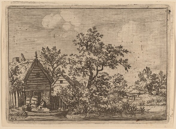 Two Casks in Front of a Cottage