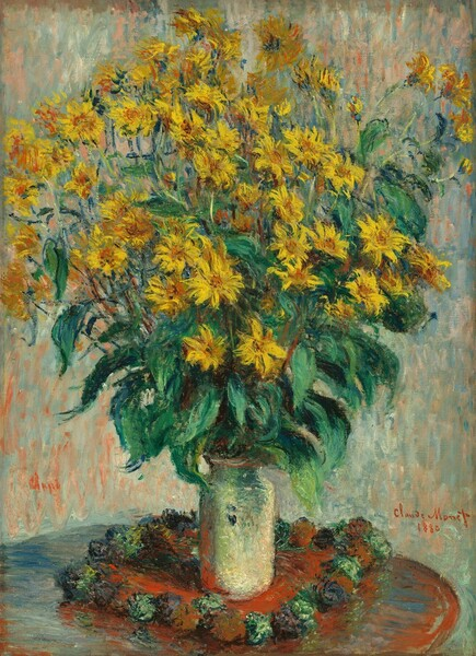 """A cloud of canary-yellow flowers with pumpkin-orange centers on tall stems with emerald and pine green leaves fills the top half of this vertical still life painting. The flowers have long, pointed petals like daisies. The flowers, vase, the round tabletop on which they sit, and the background are loosely painted with visible brushstrokes of vibrant color. The bouquet is rimmed with a ring of verdant leaves near where the stems gather in the narrow neck of the cylindrical, ivory-colored vase. The vase might sit on a circular cloth edged with alternating sage-green and plum-purple forms like pompoms, but the loose painting style makes these details difficult to make out. The round tabletop is cropped by left and bottom edges of the canvas. The background behind the bouquet and table is painted with long, vertical brushstrokes in salmon-pink, pale turquoise, denim-blue, and creamy white. The artist signed and dated the painting in red in the lower right corner: """"Claude Monet 1880."""""""