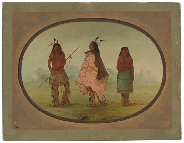 Two Apachee Warriors and a Woman