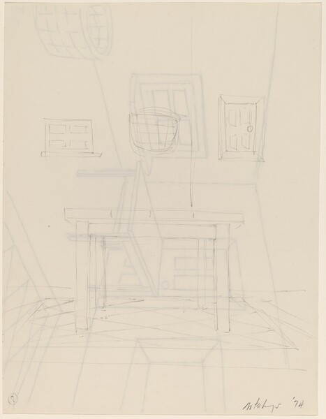Basket, Table, Door, Window, Mirror, Rug #8 [verso]