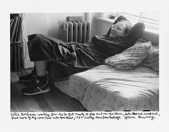 Ellie Dorfman waiting for me to get ready to go out on the town, late March weekend, front room of my Lower East side apartment, 1987. Visiting down from Cambridge.