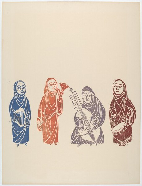 Four Figures Playing Musical Instruments