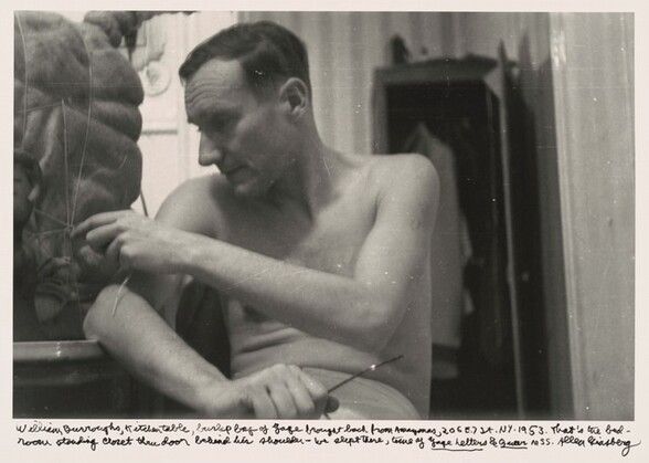 William Burroughs, kitchen table, burlap bag of Yage brought back from Amazonas, 206 E. 7 St. NY. 1953. That