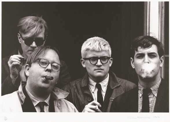 Andy Warhol, David Hockney, Henry Geldzahler, and Jeff Goodman from Out of the