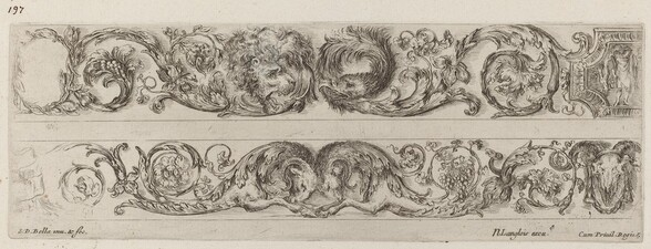 Two Ornamental Bands with Facing Heads of Lion and Eagle, and Two Rams