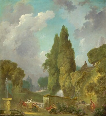 From a distance, we look slightly down into a lush park filled pairs and groups of elegantly dressed, light-skinned adults and children frolicking and socializing in this vertical painting. The color palette is dominated by celery and olive greens and tawny, soft browns. An aquamarine sky filled with towering white clouds and soaring trees fills the upper three quarters of this painting. People gather in small groups around a fountain to our left, a balustraded terrace at the center, and a dining table enclosed by tall trellises to our right. On the terrace, a blindfolded woman in a butter yellow ball gown stretches out her arms over several people leaning away from her. The people in this game with her and the others seated and standing around the dining table along with those walking and reclining in pairs around the landscape wear warm crimson, rose pink, goldenrod yellow, baby blue, or teal. The women's long dresses have ruffled sleeves that come to their elbows and the men wear jackets over creamy white shirts, and some wear white stockings with knee-length britches. The base of the fountain to our left is carved with statues around the base. A jet of water sprays up from a shallow bowl above. Atop the tall terrace surrounding the dining table, a statue of a woman wearing a helmet looks down towards our left in profile. Water rushes presumably from behind or below that statue into the space beyond the terrace below.