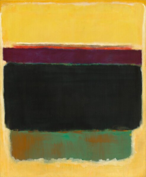 Rectangles and bands of different colors are stacked and arranged in this abstract, vertical painting. A warm, golden yellow fills the upper quarter of the composition and seems to extend down the sides in narrow strips to connect with a band of the same color along the bottom. Near the top, a thin strip of vibrant orange is layered atop a wider band of deep plum, which almost spans the width of the canvas. Just below and as wide as the purple band, the largest velvety black rectangle takes up at least a third of the composition. A narrow rectangular area below seems to have been painted with teal over rusty orange, which shimmers through in some areas. The edges of all of the forms are soft and blended, especially around the lowest, teal-colored rectangle.